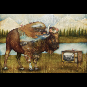 Painting of a buffalo in the mountains watching tv