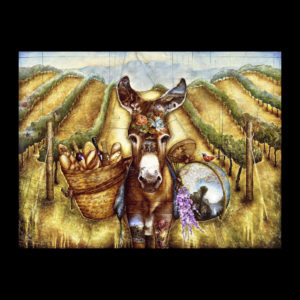 Painting of a donkey in a field carrying bread and wine