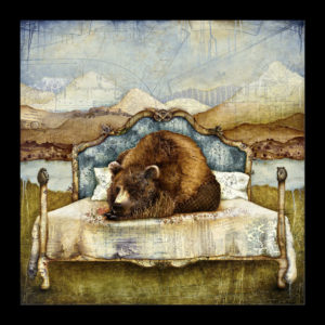 Painting of a bear laying on the bed