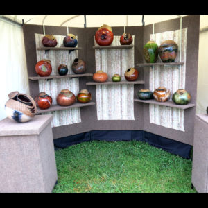 Art display of wooden bowls