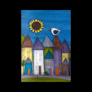 Painting of a neighborhood with a flower and bird