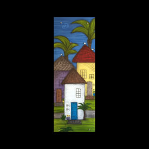 Painting of three homes