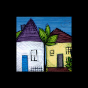 Painting of two homes