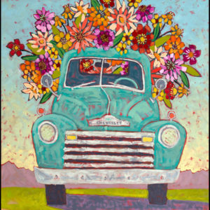 Painting of a Chevrolet truck filled with flowers