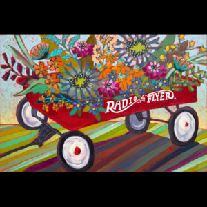 Painting of wagon with flowers