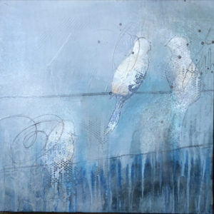 Paintings of birds with a blue background