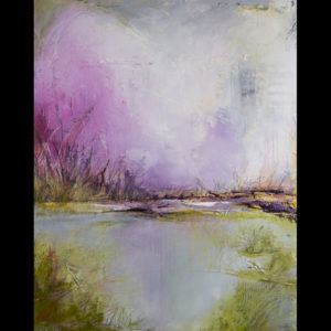 Painting of a pond with green and purple