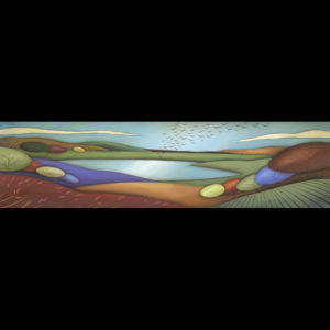 Painting of a field with a lake
