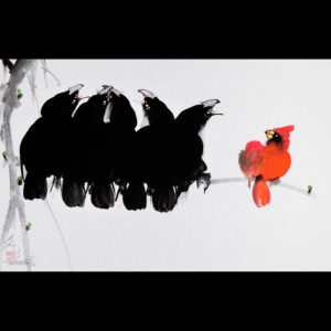 Painting of a red bird with black birds sitting on a tree branch