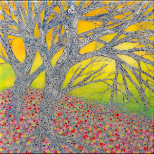 Painting of a yellow sky with trees