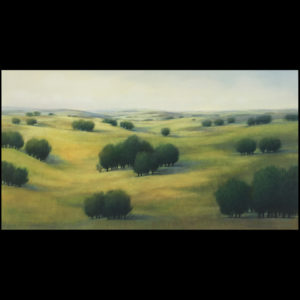 Painting of the hills with trees