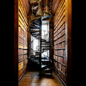 A library with spiral staircase