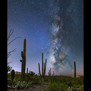 Photograph the night sky in the desert