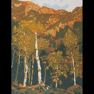 A print of aspen trees in the mountains