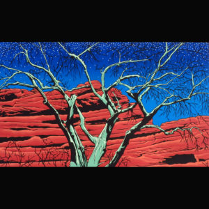Print of nighttime with red rocks
