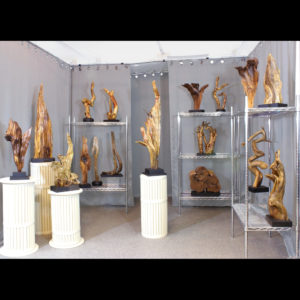 Wooden sculptures displayed