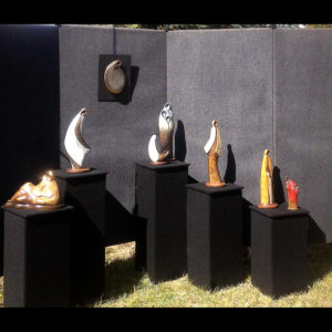 Sculptures at an art show