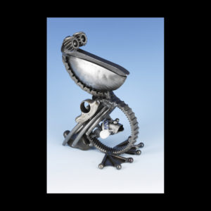 Metal seagull sculpture