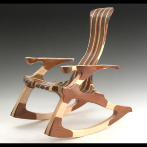 Wooden chair with various shades of wood