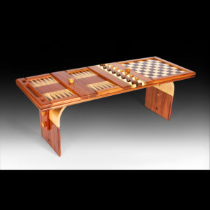 Wooden table with checkers
