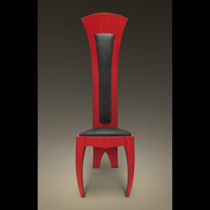 Red chair wooden chair with black leather
