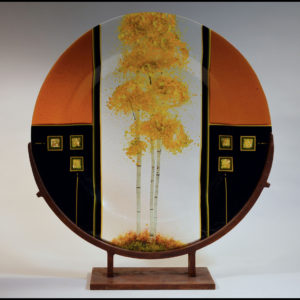 Glass plate with painted tree
