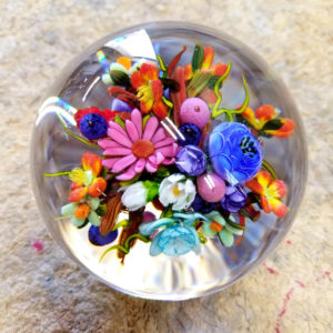 Glass ball with painted flowers