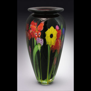 glass vase painted